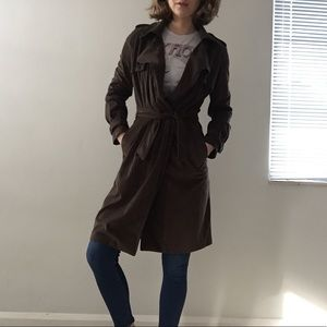 Zara Dark green trench with waist tie
